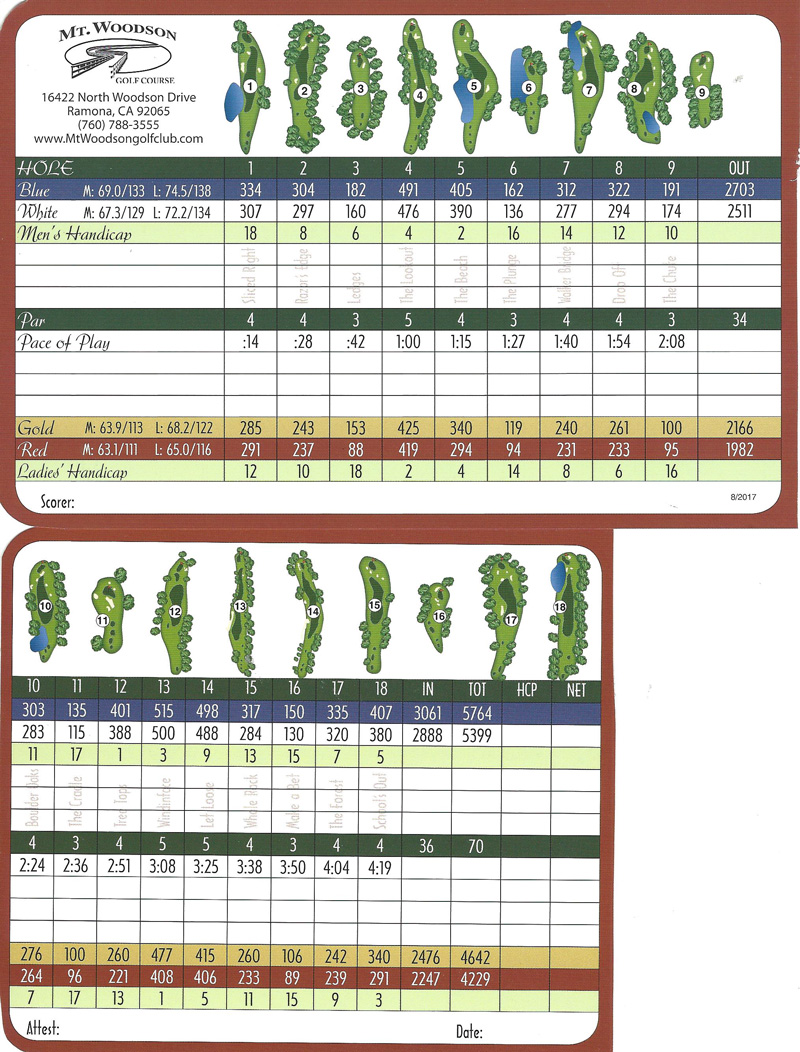 Mt Woodson Golf Club Scorecard, San Diego Golf Course